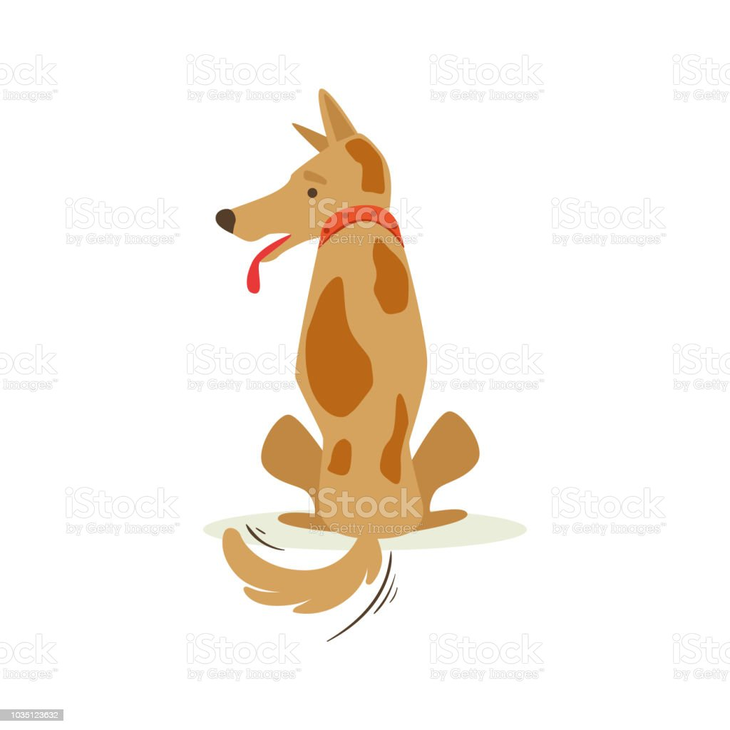 Brown Pet Dog Turned Its Back Sulking, Animal Emotion Cartoon Illustration vector art illustration