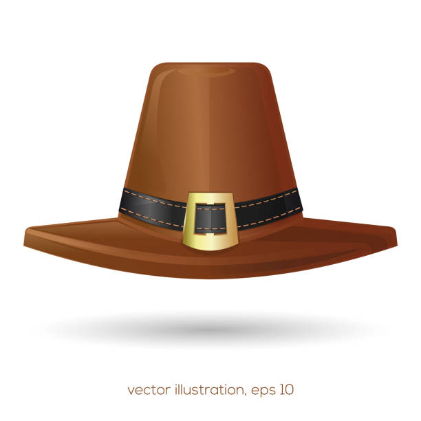 Brown pilgrims hat with a buckle Brown pilgrims hat with a black stitched buckle. Thanksgiving symbol. Vector illustration art deco district miami stock illustrations