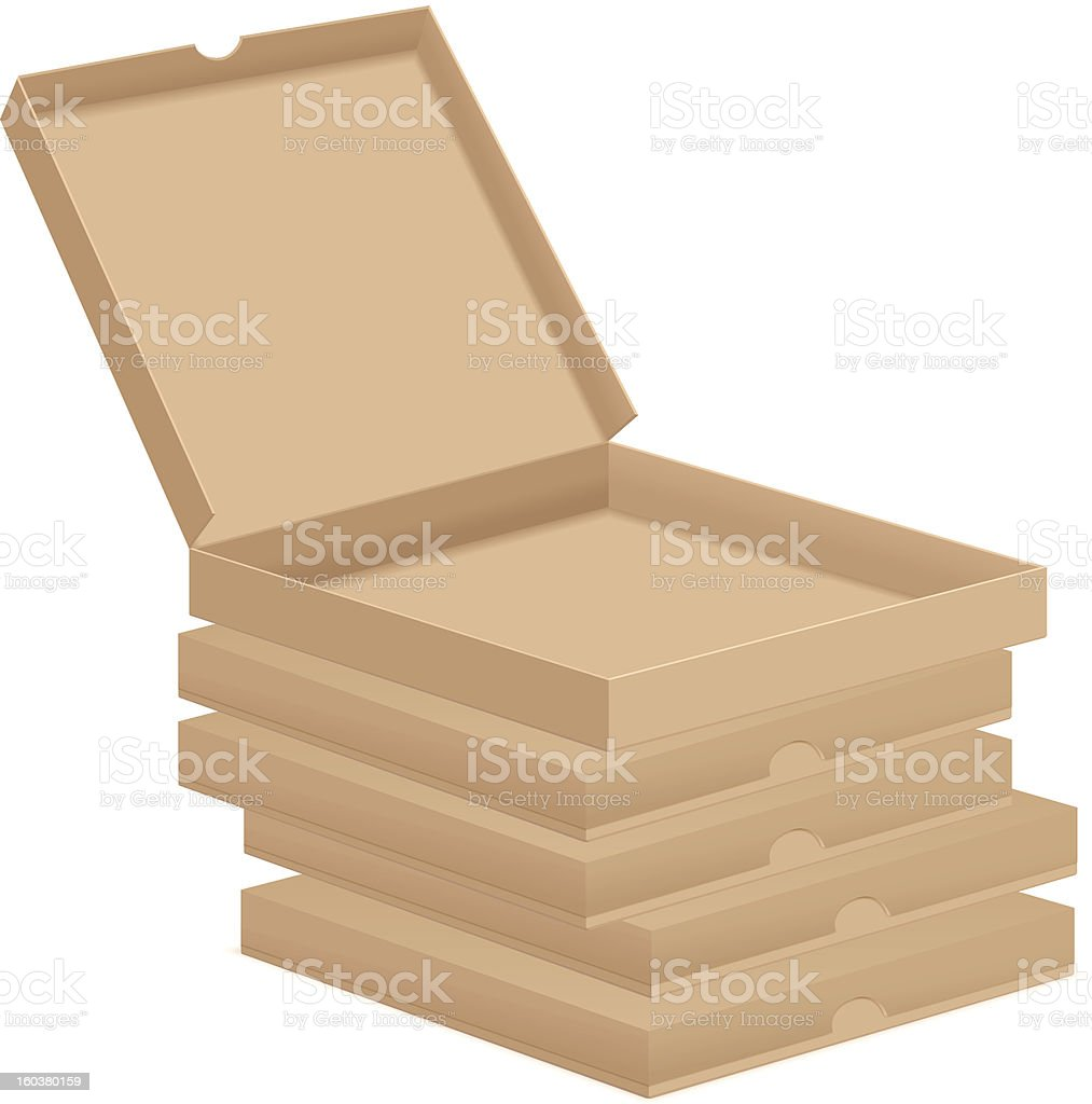 brown pizza boxes royalty-free stock vector art