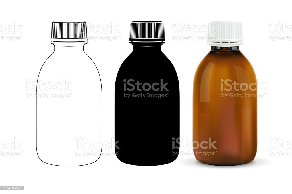 Brown Plastic Bottle Outline Drawing Silhouette And 3d Model Stock
