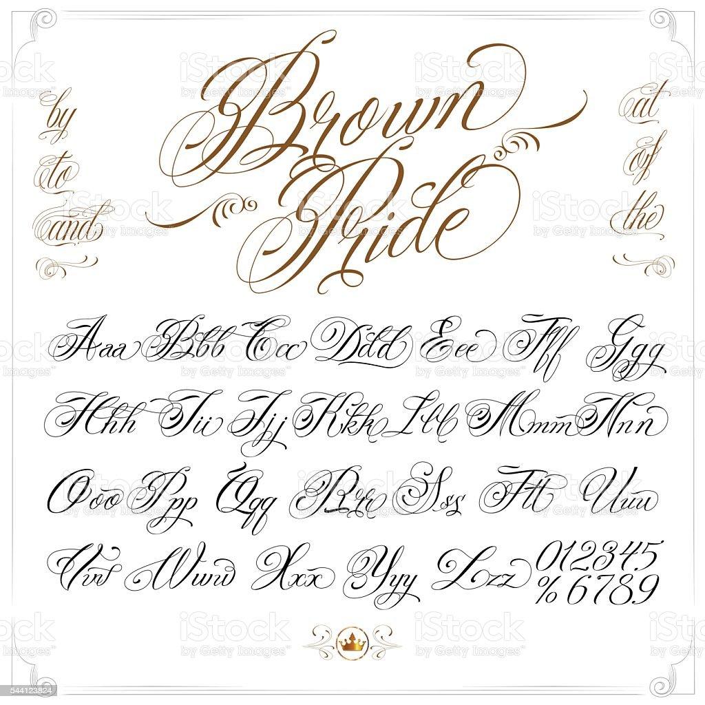Brown Pride Tattoo Font Set Stockowe Grafiki Wektorowe I