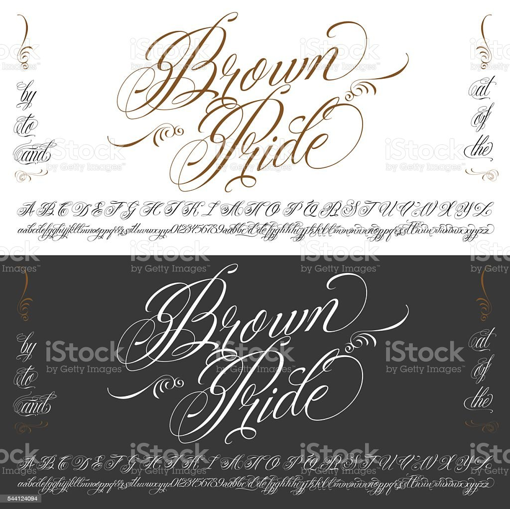 Brown Pride tattoo typescript big set vector art illustration