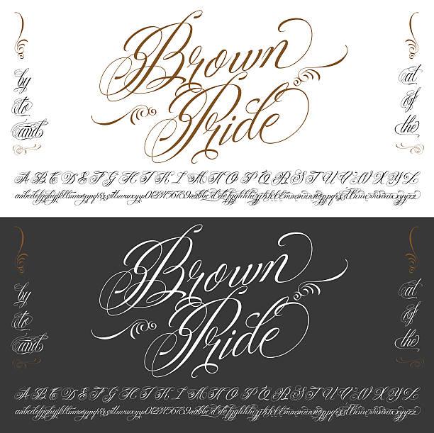 illustrations, cliparts, dessins animés et icônes de brown pride tattoo typescript big set - polices de tatouage
