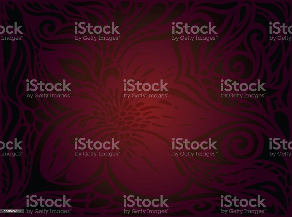 Brown Red Flower wallpaper vector design background in fashion vintage style векторная иллюстрация