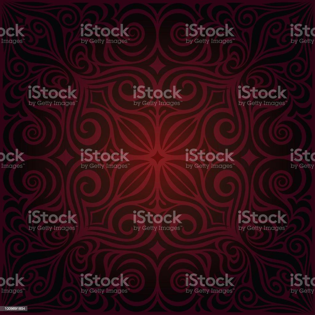 Brown Red Flower wallpaper vector design background in fashion vintage mandala style векторная иллюстрация