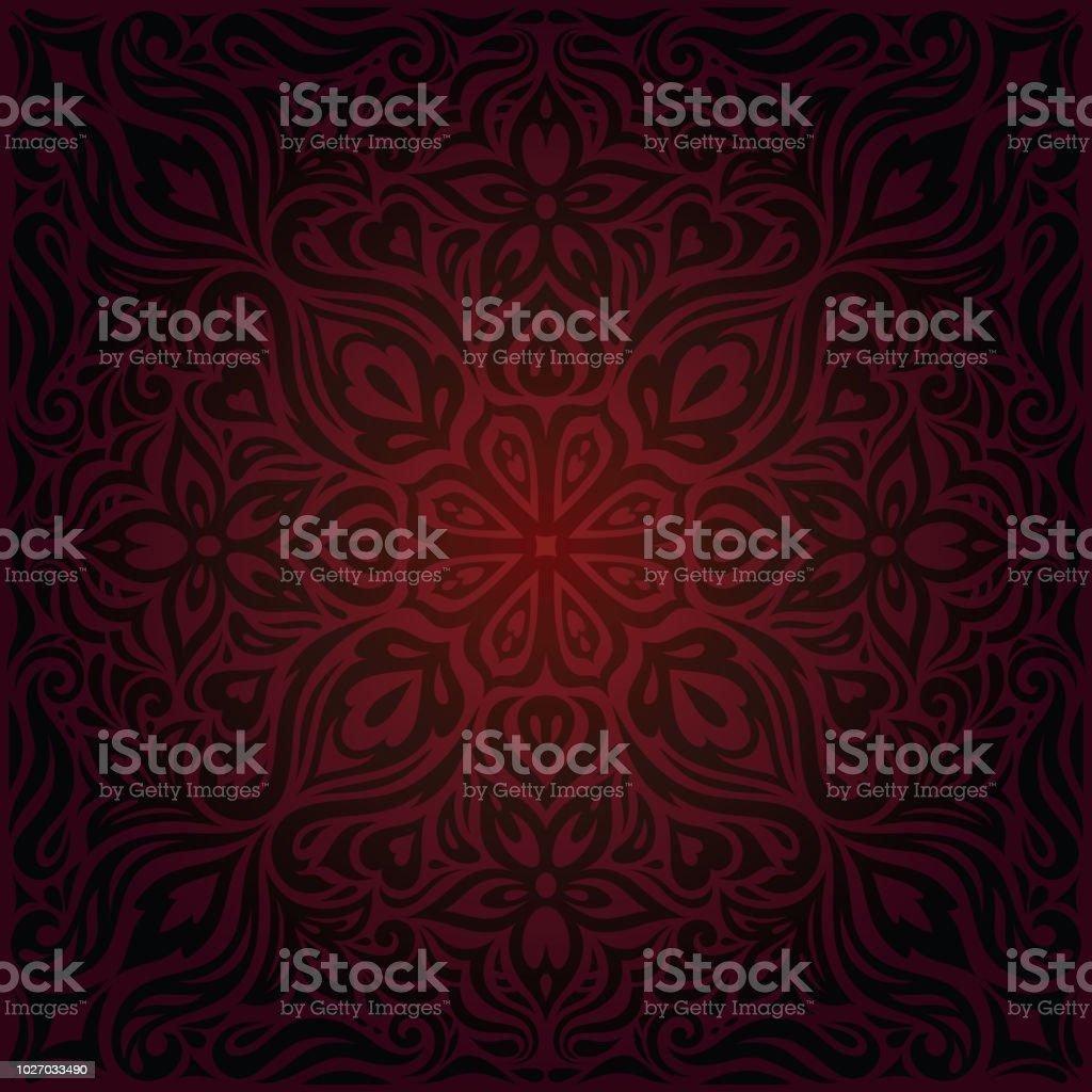Brown Red Flower wallpaper vector design background vintage mandala векторная иллюстрация