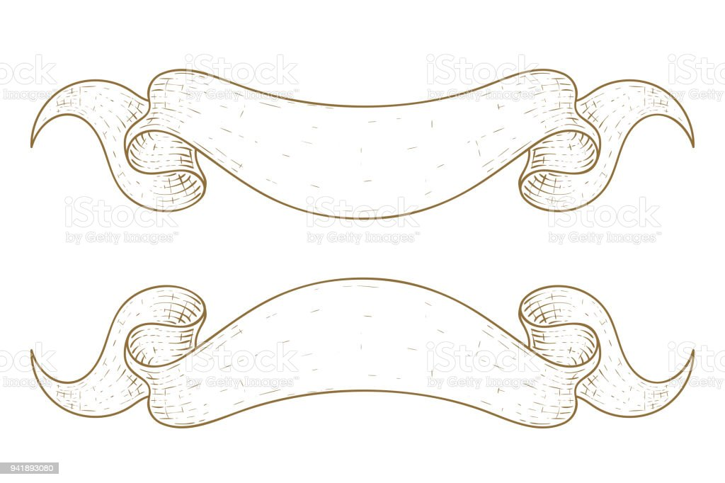 Line Art Ribbon : Brown ribbon scrolls hand drawn sketch stock vector art & more