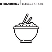 istock Brown Rice Line Icon, Outline Vector Symbol Illustration. Pixel Perfect, Editable Stroke. 1190258389