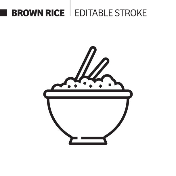 ilustrações de stock, clip art, desenhos animados e ícones de brown rice line icon, outline vector symbol illustration. pixel perfect, editable stroke. - arroz alimento básico