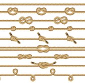 Brown rope knots collection. Decorative graphic elements isolated on a