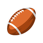 Brown rugby ball. Stylized sport equipment illustration.