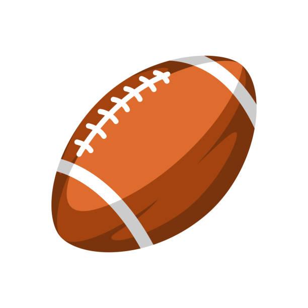 ilustraciones, imágenes clip art, dibujos animados e iconos de stock de ilustración de pelota de rugby marrón. - american football