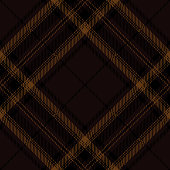 Brown and black Scottish tartan plaid seamless diagonal textile pattern background.