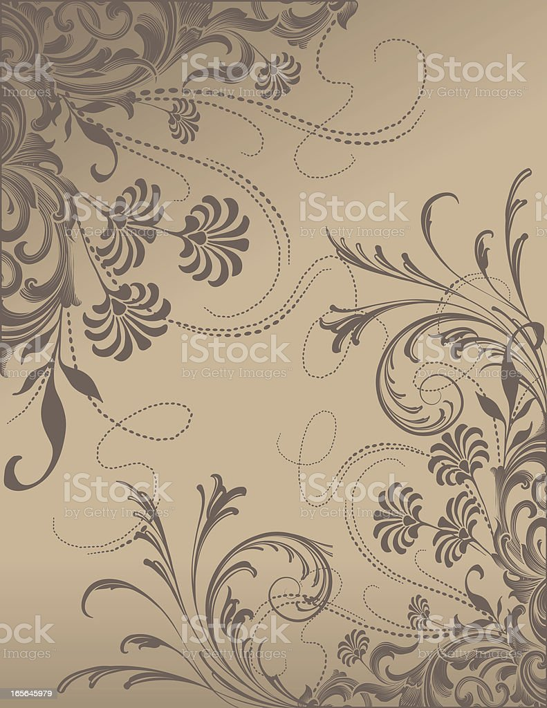 Brown Scroll Flowers scrollwork floral border