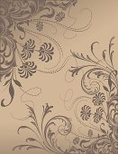 Brown Scroll Flowers scrollwork floral border