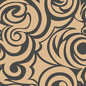 brown seamless pattern of spirals and curls. Decorative ornament for background.EPS 10 vector