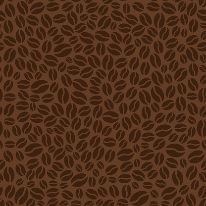 Brown seamless pattern with coffee beans. Vector illustration