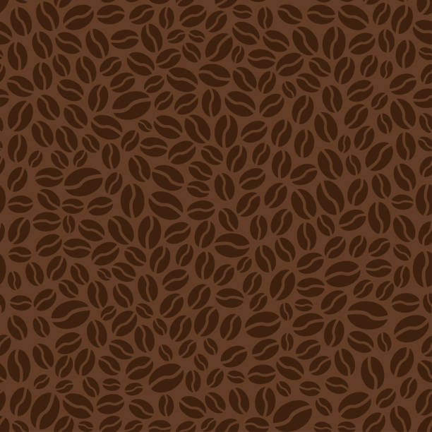 brown seamless pattern with coffee beans. vector illustration - coffee stock illustrations