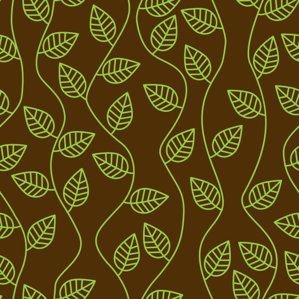 brown seamless pattern with leaves and curves vector art illustration