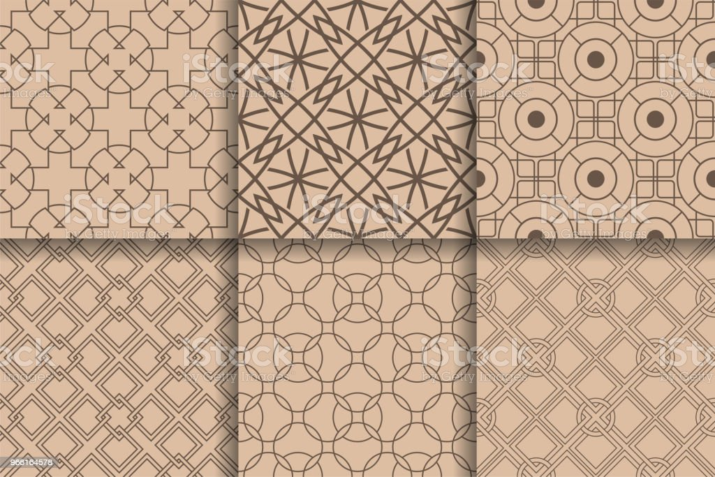 Brown seamless patterns. Set geometric background - Royalty-free Abstract stock vector