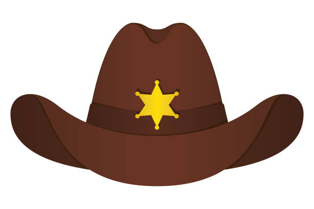 Brown Sheriff Hat Icon. Vector Isolated Object. Front View. Symbol of Wild West Brown Sheriff Hat Icon. Vector Isolated Object. Front View. Symbol of Wild West rancher illustrations stock illustrations