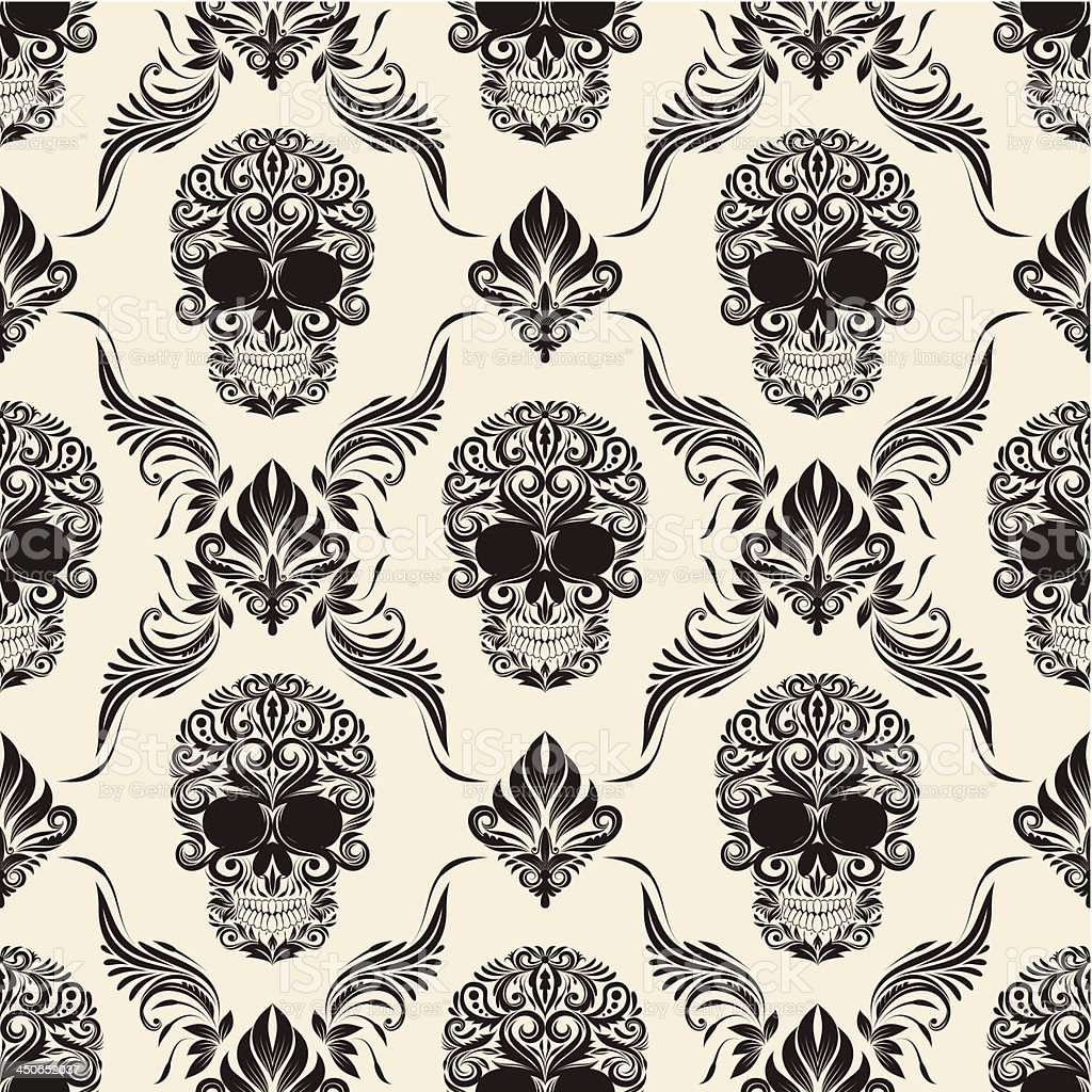 Brown Skull Pattern vector art illustration