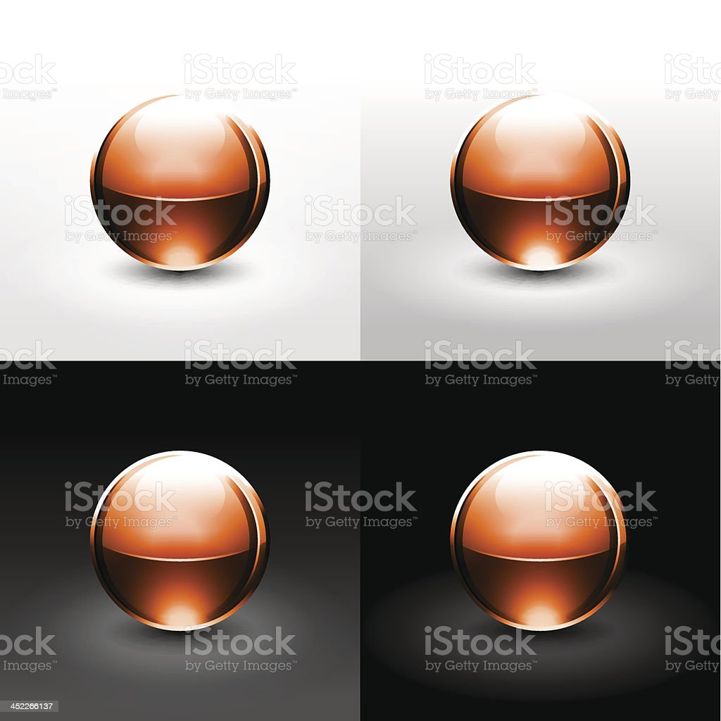 Brown sphere glossy ball chrome icon web internet button royalty-free stock vector art