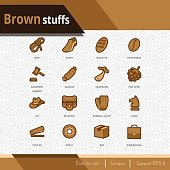 Brown stuffs vector icons set on white background.