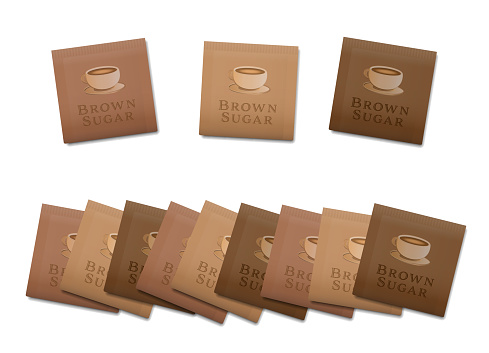 Brown sugar sachets, fake product paper packets. Isolated vector illustration on white background.