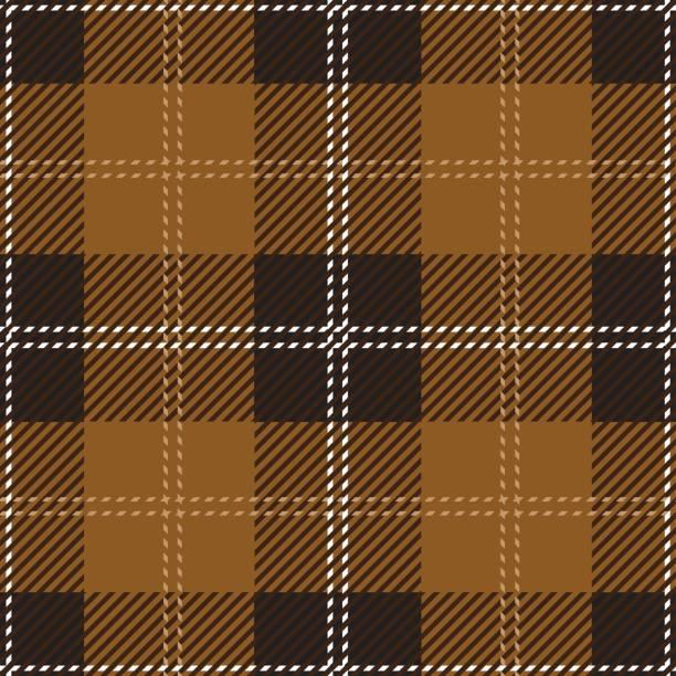 brown tartan plaid pattern design - stripped pattern stock illustrations, clip art, cartoons, & icons