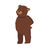 istock Brown teddy bear standing and feeling thoughtful vector illustration 1212180141