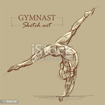 Brown toned modern stylized sketch of a curly gymnastics, acrobatics with a muscular body, vector illustration.