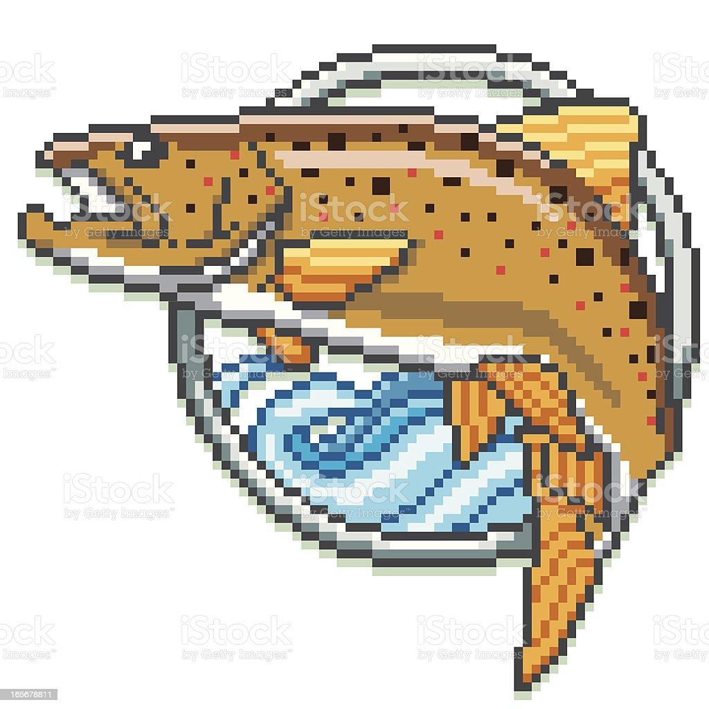 Brown Trout - Pixel Art Style vector art illustration