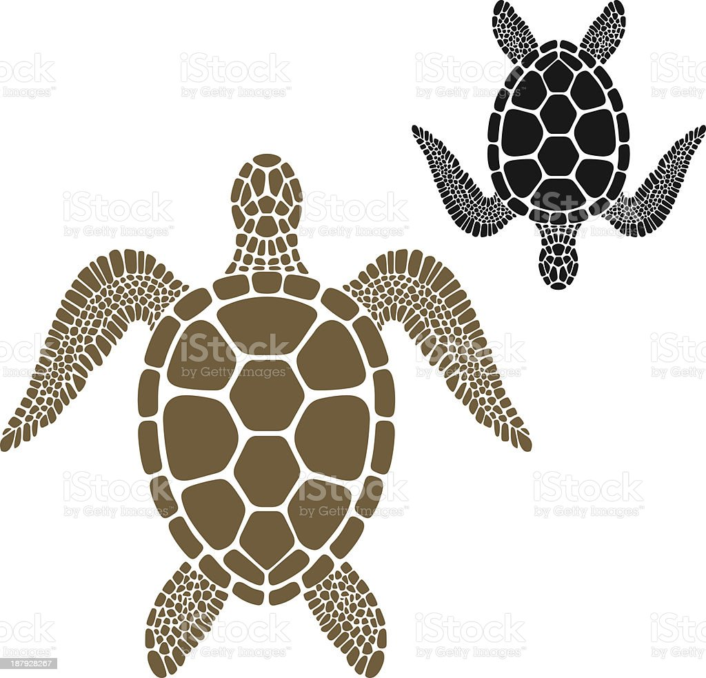 Brown turtle facing the opposite direction to a black turtle vector art illustration