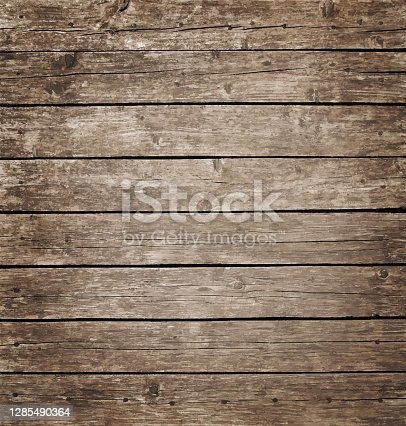 istock Brown vintage wooden planks background 1285490364