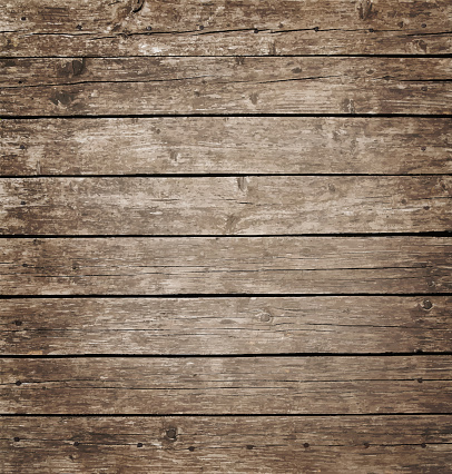 Vector illustration background texture of grunge weathered vintage brown knotty wooden planks