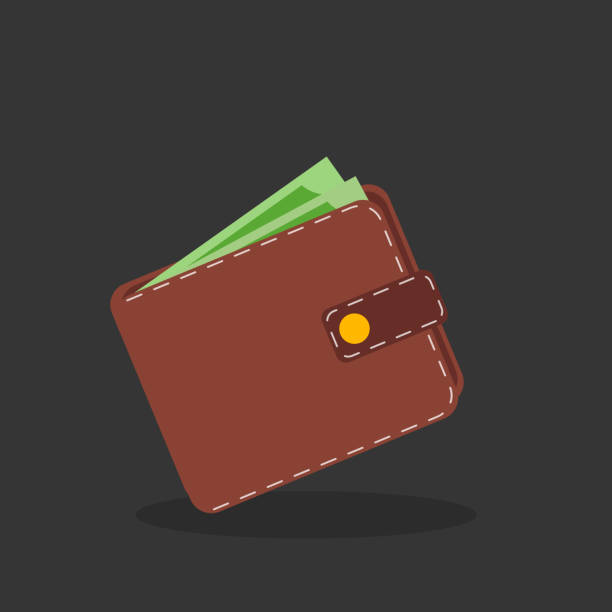 Brown wallet with green paper money. Brown wallet with green paper money. change purse stock illustrations