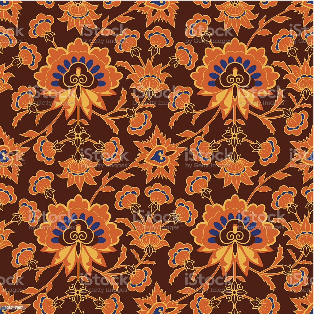 Brown wallpaper pattern in  vintage style royalty-free stock vector art