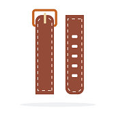 Brown watchband vector flat isolated