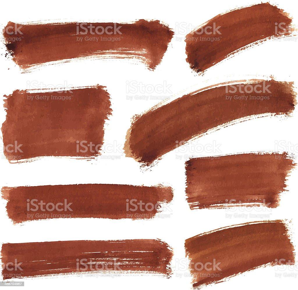 Brown Water Color Stroke Set vector art illustration