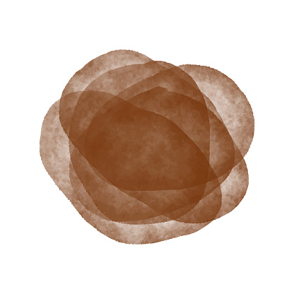 Brown Watercolor Circle Splashes Isolated. Watercolor Circles or Spots Abstract Background. Design Element for Greeting Cards and Labels.Watercolor Splash with multilayered translucent effect.