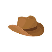 Brown wide-brimmed cowboy hat. Stylish men headwear. Element of costume. Fashion theme. Flat vector design