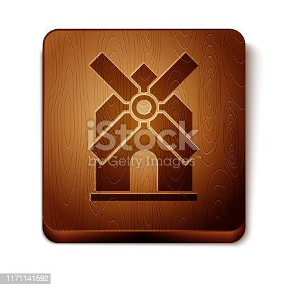 Brown Windmill icon isolated on white background. Wooden square button. Vector Illustration