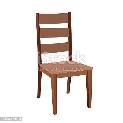 Brown Wooden Chair - Cartoon Vector Image