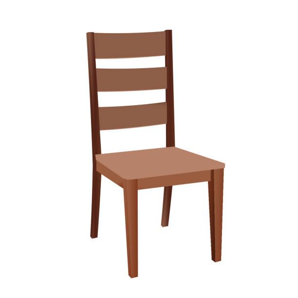 bildbanksillustrationer, clip art samt tecknat material och ikoner med brun trästol - stol