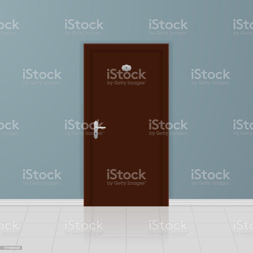 Porte En Bois Brune Sur Un Mur Gris Design Dintérieur Cliparts