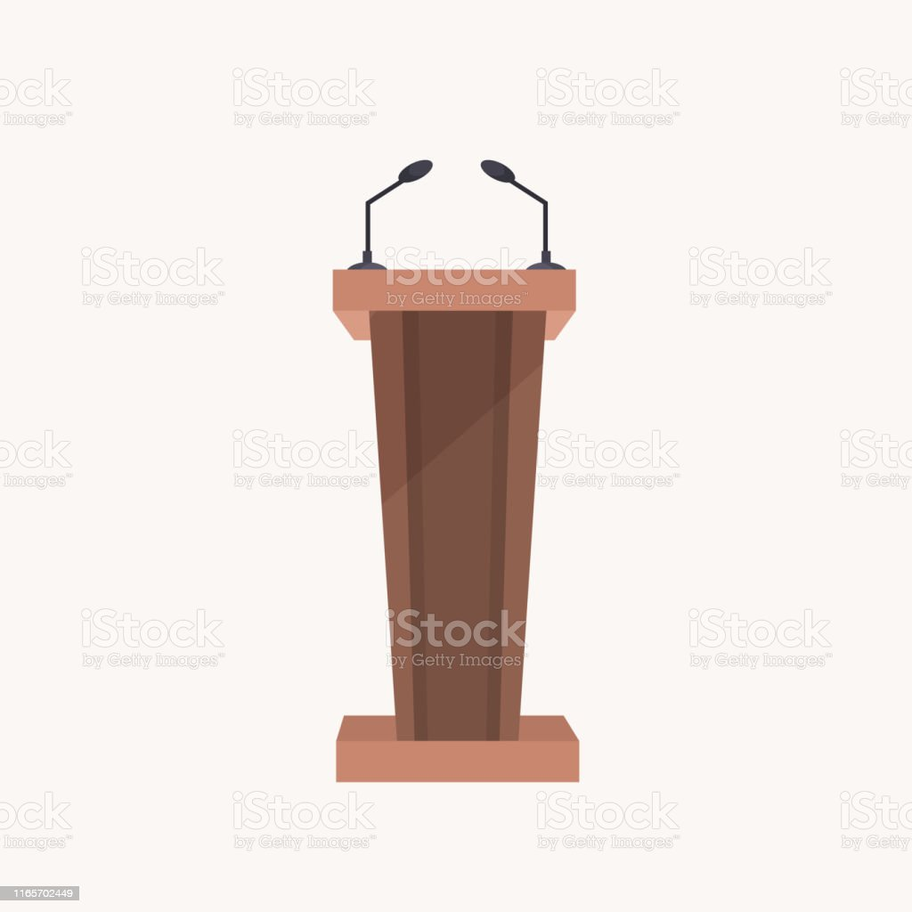 brown wooden stand presentation conference tribune with microphones...