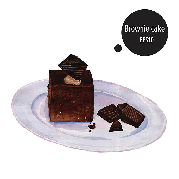 bildbanksillustrationer, clip art samt tecknat material och ikoner med brownie cake chocolate on plate watercolor painting vector - brownie