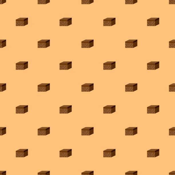 bildbanksillustrationer, clip art samt tecknat material och ikoner med brownie söta desserter sömlösa mönster - brownie