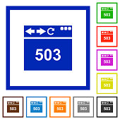 Browser 503 Service Unavailable flat framed icons